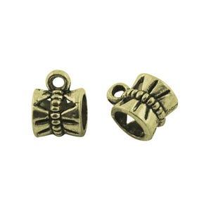 Antique Bronze Tibetan Zinc 7mm x 10mm Barrel Charm Hangers Pack Of 20 Y00675