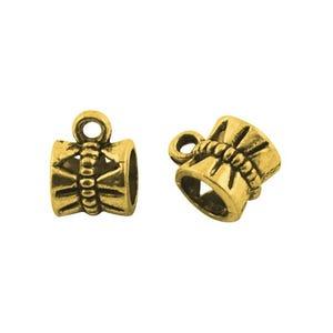 Antique Gold Tibetan Zinc 7mm x 10mm Barrel Charm Hangers Pack Of 20 Y01135
