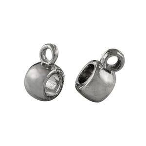 Antique Silver Tibetan Zinc 6mm x 9mm Barrel Charm Hangers Pack Of 20 Y01440