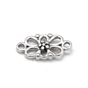 Antique Silver Metal Alloy 8mm x 16mm Flower Connectors Pack Of 20 Y01515