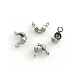 Silver Tone Stainless Steel 4mm x 6mm Clamshell Callottes Pack Of 30 Y01610