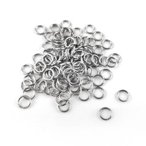 Silver 304 Stainless Steel 1.2mm x 8mm Round Open Jump Rings Pack Of 100+ Y01900