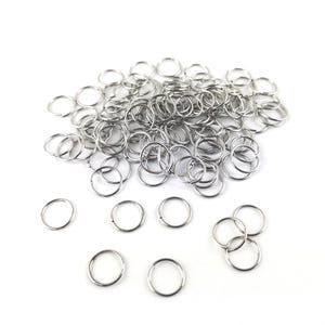 Silver 304 Stainless Steel 0.8mm x 10mm Round Open Jump Rings Pack Of 100+ Y02065