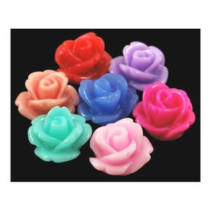 Mixed-Colour Smooth Resin 10mm Calibrated Flower Cabochons Pack Of 30 Y02600