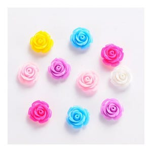 Mixed-Colour Smooth Resin 14mm Calibrated Flower Cabochons Pack Of 20 Y02780