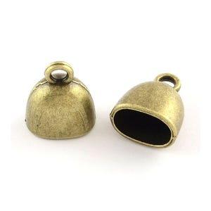 Antique Bronze Tibetan Zinc 13mm x 15mm Oval End Caps Pack Of 20 Y02995