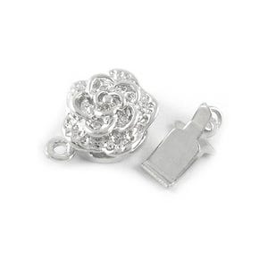 Platinum Brass 10mm x 15mm Flower Box Clasps Pack Of 5 Y03610