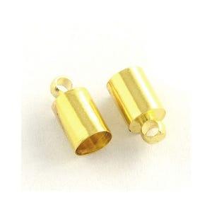 Golden Brass 6mm x 10mm Barrel End Caps Pack Of 30 Y04450