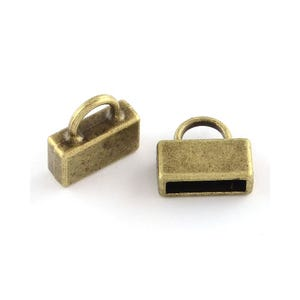 Antique Bronze Tibetan Zinc 12mm x 13mm Rectangle End Caps Pack Of 20 Y04565