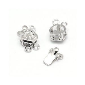 Platinum Brass 8mm x 13mm Flower Box Clasps Pack Of 2 Y04580