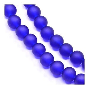 Blue Frosted Dyed Glass Plain Round Beads 4mm Strand Of 195+ Pieces Y04740