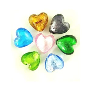 Mixed-Colour Foil Glass Puffy Heart Beads 12mm Pack Of 20 Y05000
