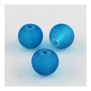 Teal Blue Frosted Dyed Glass Plain Round Beads 8mm Strand Of 100+ Pieces Y05065
