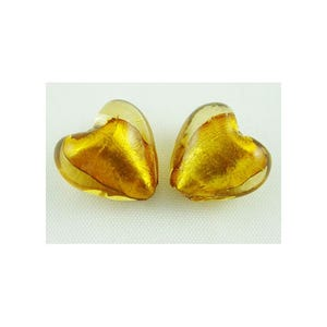 Gold Foil Glass Puffy Heart Beads 12mm Pack Of 20 Y05170