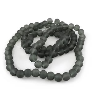 Grey Frosted Dyed Glass Plain Round Beads 8mm Strand Of 100+ Pieces Y05230