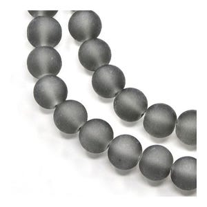 Grey Frosted Dyed Glass Plain Round Beads 4mm Strand Of 195+ Pieces Y05240