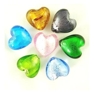 Mixed-Colour Foil Glass Puffy Heart Beads 20mm Pack Of 20 Y05245