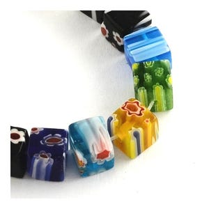 Mixed-Colour Millefiori Glass Cube Beads 6mm Strand Of 60+ Pieces Y05275