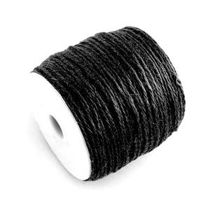 Black Hemp Twine Cord 10M Continuous Length 2mm Thick Y05315