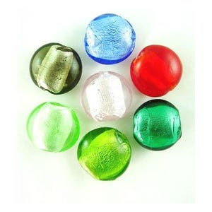 Mixed-Colour Foil Glass Puffy Coin Beads 20mm Pack Of 20 Y05320