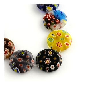 Mixed-Colour Millefiori Glass Puffy Coin Beads 3.5mm x 12mm Strand Of 30+ Pieces Y05415
