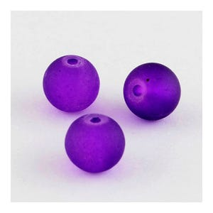 Violet Frosted Dyed Glass Plain Round Beads 6mm Strand Of 135+ Pieces Y05490