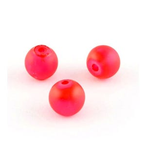 Red Frosted Dyed Glass Plain Round Beads 8mm Strand Of 100+ Pieces Y05550