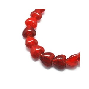 Red Foil Glass Puffy Heart Beads 12mm Pack Of 20 Y05590
