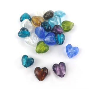 Random Mixed-Colour Foil Glass Puffy Heart Beads 12mm Pack Of 20 Y05785
