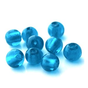Blue Foil Glass Plain Round Beads 8mm Pack Of 20 Y05990
