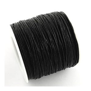 Black Waxed Cotton String Cord 5M Continuous Length 1mm Thick Y06370