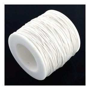 White Waxed Cotton String Cord 5M Continuous Length 1mm Thick Y06780