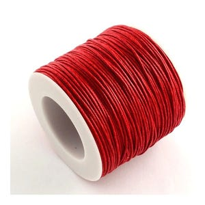 Red Waxed Cotton String Cord 5M Continuous Length 0.8mm Thick Y06960