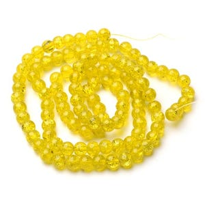 Yellow Cracked Glass Plain Round Beads 8mm Strand Of 95+ Pieces Y07415