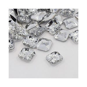 Clear Acrylic 11mm 2-Hole Faceted Square Buttons Pack Of 20 Y07440
