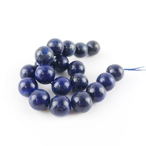 Blue Dyed Lapis Lazuli Grade A Plain Round Beads 10mm Strand Of 15+ Pieces Y07455