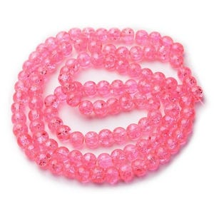Pink Cracked Glass Plain Round Beads 8mm Strand Of 95+ Pieces Y07460