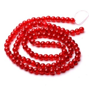 Red Cracked Glass Plain Round Beads 8mm Strand Of 95+ Pieces Y07635