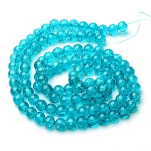 Teal Blue Cracked Glass Plain Round Beads 8mm Strand Of 95+ Pieces Y07655