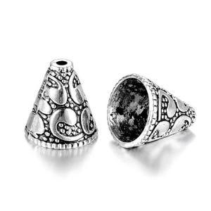 Antique Silver Tibetan Zinc 12mm x 13mm Cone Bead Caps Pack Of 5 Y07675