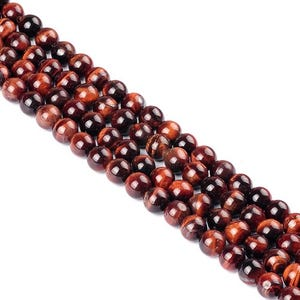 Red/Brown Tiger Eye Grade A Plain Round Beads 8mm Strand Of 20+ Pieces Y07715