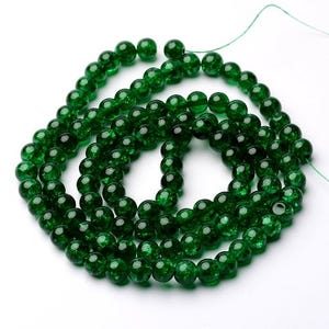Green Cracked Glass Plain Round Beads 8mm Strand Of 95+ Pieces Y07825