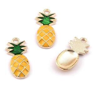 Golden/Orange Enamel & Alloy Pineapple Pendants 10mm x 25mm Pack Of 5 Y07960
