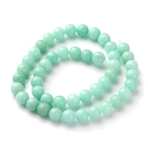 Turquoise Amazonite Grade A Plain Round Beads 8mm Strand Of 40+ Pieces Y08010
