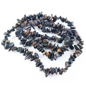 Dark Blue/Brown Tiger Eye Grade A Chip Beads 5mm-8mm Long Strand Of 230+ Pieces Y08150