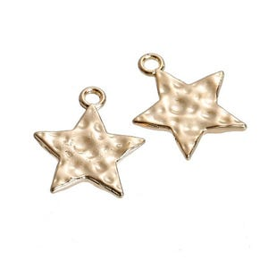 Golden Zinc Alloy Star Charms 15mm x 18mm Pack Of 5 Y08185