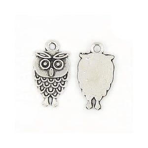 Antique Silver Tibetan Zinc Owl Charms 18mm Pack Of 15 Y08350