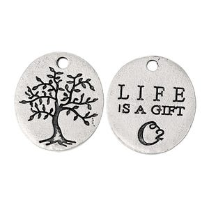 Antique Silver Zinc Alloy Tree Charms 18mm x 20mm Pack Of 10 Y08745