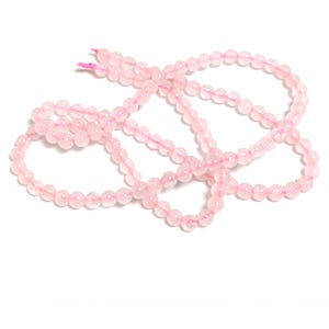 Pink Rose Quartz Grade A Plain Round Beads 3mm Strand Of 110+ Pieces Y08960