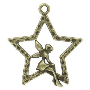 Steampunk Antique Bronze Tibetan Zinc Star Pendants 28mm Pack Of 15 Y08990